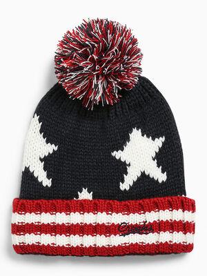 Bonnet tricot jacquard a pompon bleu marine mixte