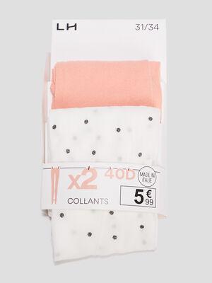 Lot 2 paires collants rose corail fille
