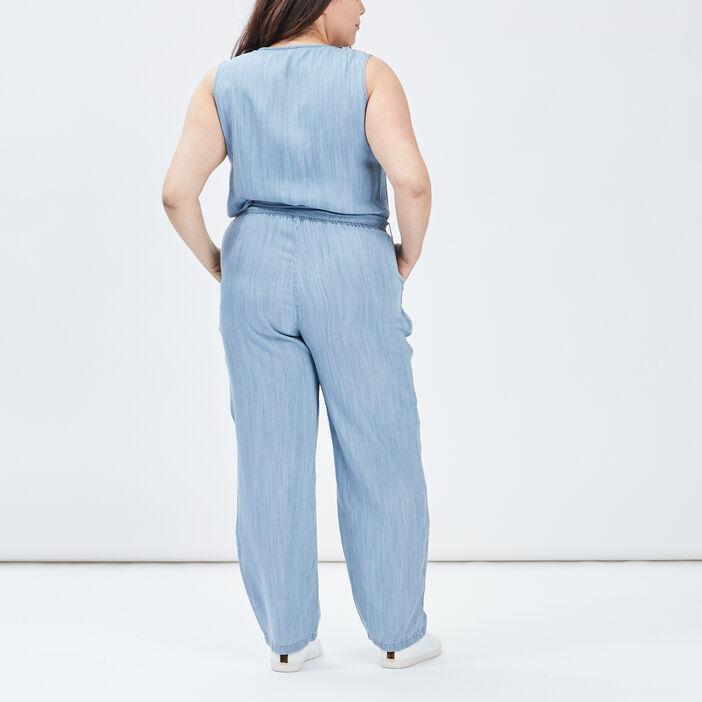 Combinaison pantalon ceinturée femme grande taille denim bleach