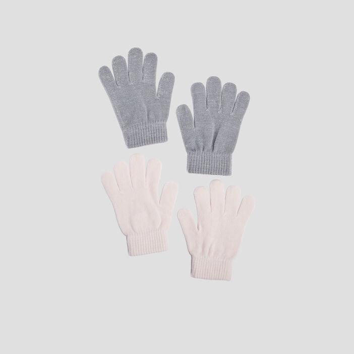 Lot 2 paires de gants fille multicolore