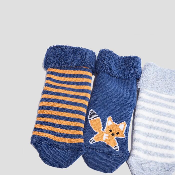Lot 3 chaussettes bébé garçon bleu marine