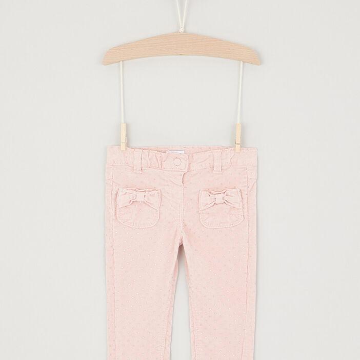 Pantalon slim coton majoritaire bébé fille rose clair