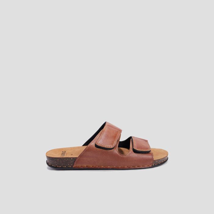 Mules en cuir Walking Confort homme marron
