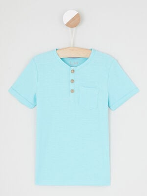 T shirt uni col rond boutonne bleu turquoise garcon