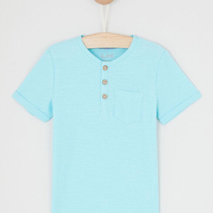 T-shirt uni col rond boutonné garçon bleu turquoise