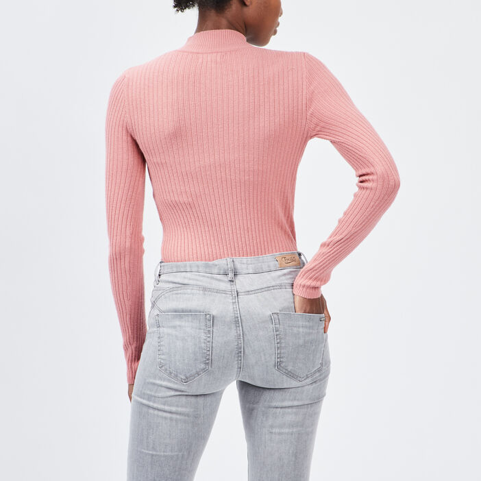 Pull col montant femme rose