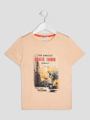 T shirt manches courtes Creeks rose garcon