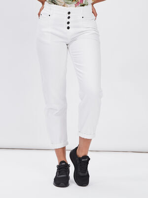 Jeans slouchy boutonne ecru femme