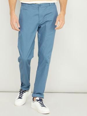 Pantalon droit uni bleu homme