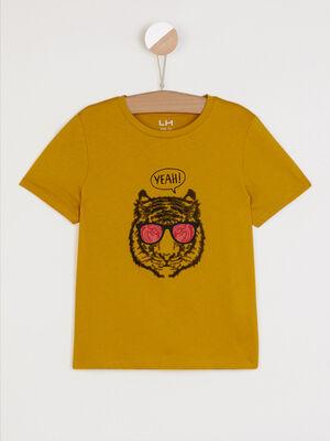 T shirt dessin et message devant vert anis garcon