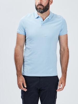 Polo manches courtes bleu ciel homme