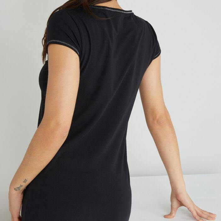 T-shirt avec liseré contrasté femme noir
