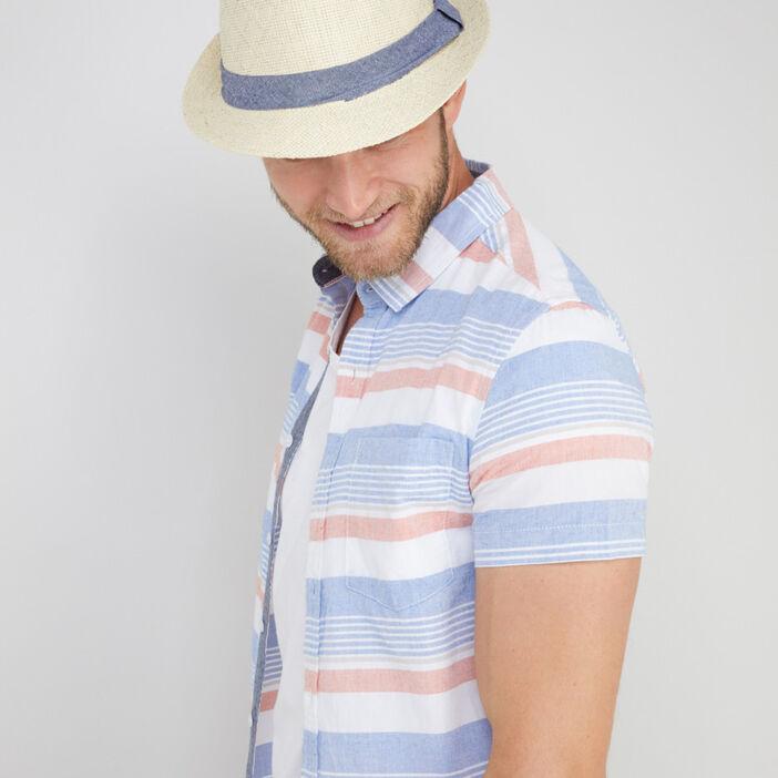 Chapeau trilby tressé galon contrasté mixte beige