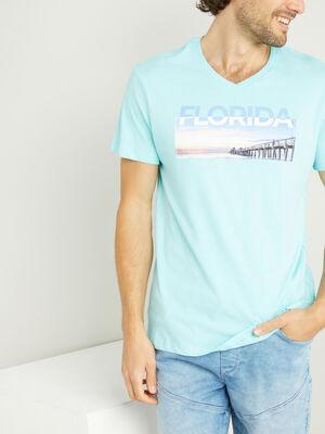 T shirt en coton manches courtes bleu turquoise homme