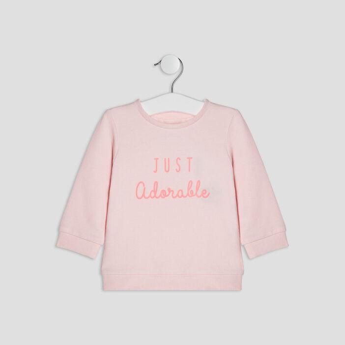 Pull à message bébé fille rose clair