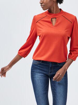T shirt manches 34 orange fonce femme
