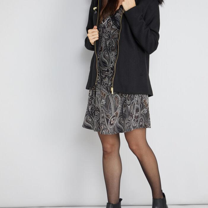 Manteau zippé évasé avec capuche femme noir