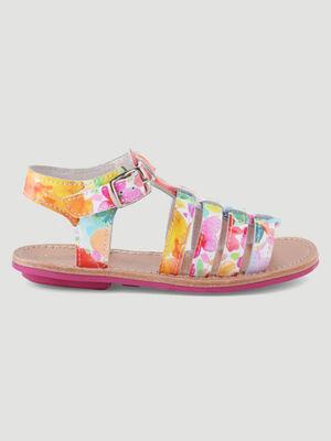 Sandales cuir a fleurs multicolore fille