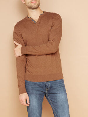 Pull uni en coton majoritaire marron cognac homme