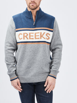 Pull a col montant Creeks gris clair homme