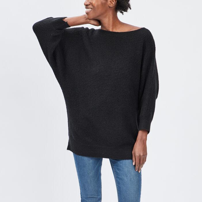 Pull manches 3/4 femme noir