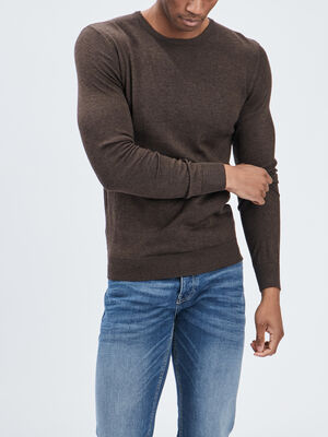 Pull avec col rond marron clair homme