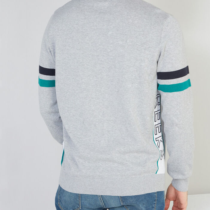 Pull en coton avec rayures homme gris clair