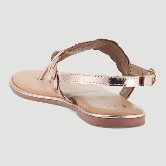 Sandales tressées entre-doigt en cuir femme couleur or
