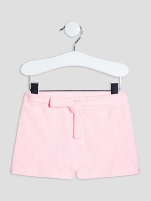 Short droit avec noeud rose fluo bebef