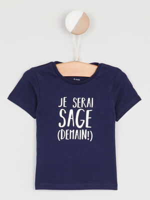 T shirt col rond message devant bleu marine garcon