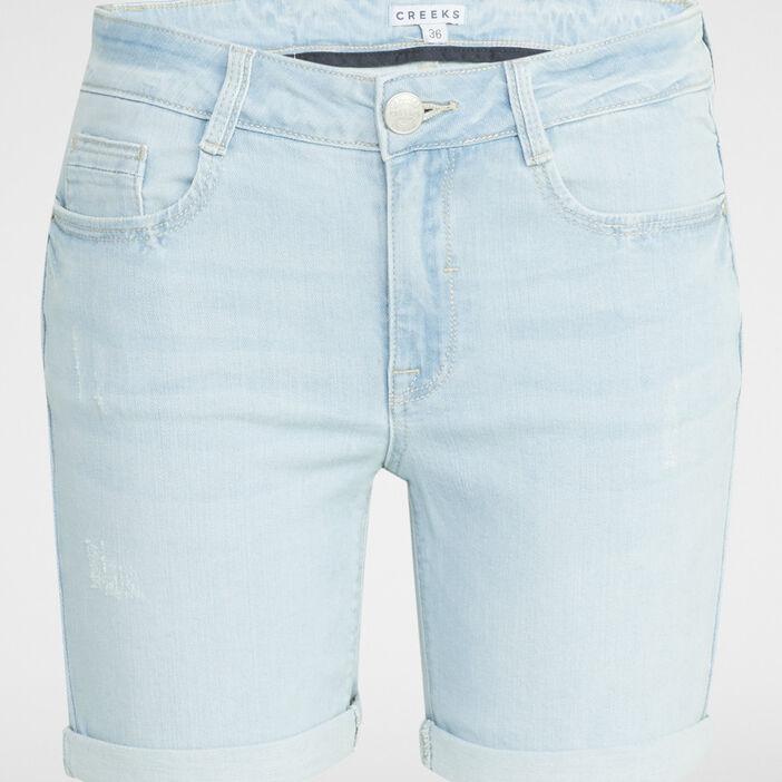 Short en jean délavé femme denim bleach