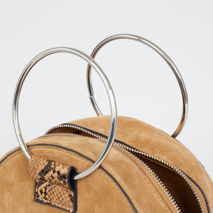 Sac tambourin python anses anneaux femme beige