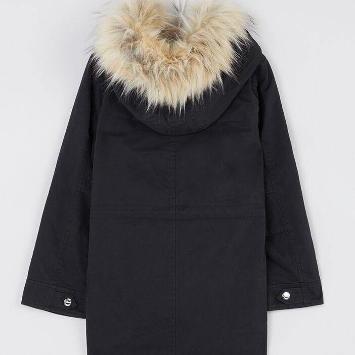 Manteau avec capuche fausse fourrure fille noir