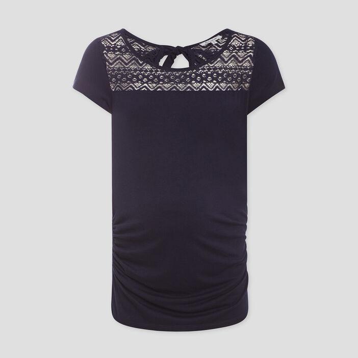 T-shirt grossesse à dentelle femme bleu marine