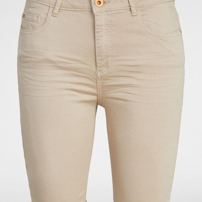 Bermuda 5 poches uni femme beige