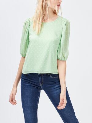 Blouse manches courtes vert clair femme
