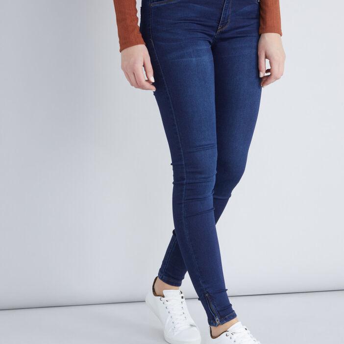 Jean coupe skinny taille basse femme denim brut