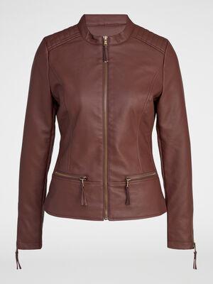 Veste zippee avec decoupes marron femme