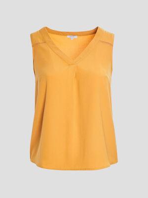 Chemise sans manches grandes tailles jaune moutarde femmegt
