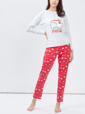Ensemble pyjama Coca Cola gris femme