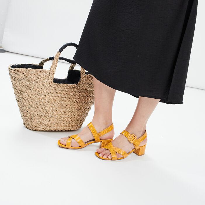 Sandales à talons texturés femme jaune
