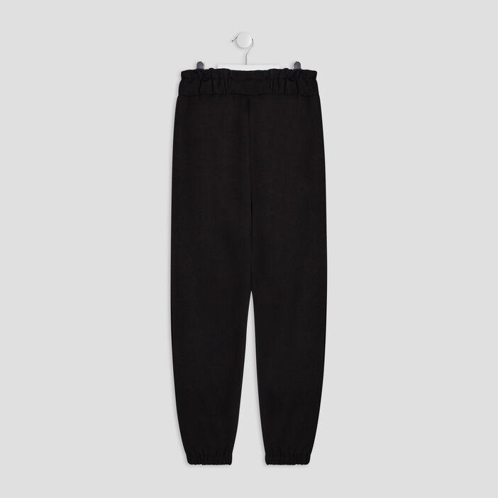 Pantalon cargo effet ceinturé fille noir