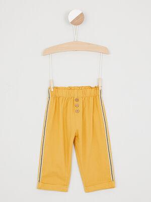 Pantalon avec bandes laterales jaune moutarde fille