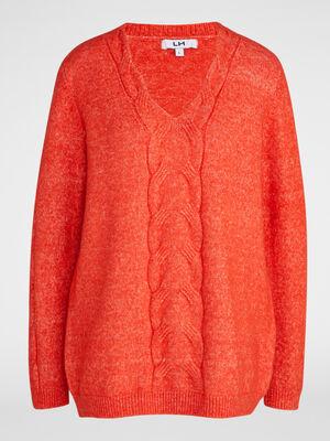 Pull torsades col V orange femme