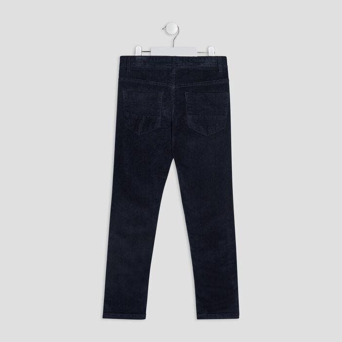Pantalon slim velours côtelé garçon bleu marine