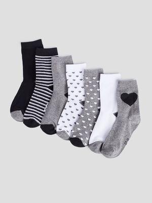 Lot 6 paires chaussettes gris fille