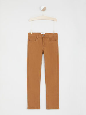 Pantalon uni 5 poches camel garcon