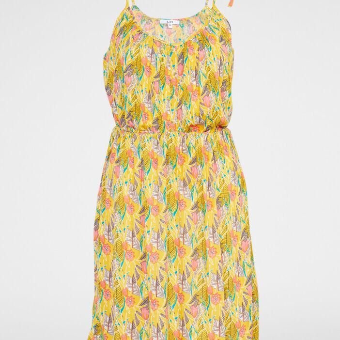 Robe fleurie évasée fines bretelles femme jaune moutarde