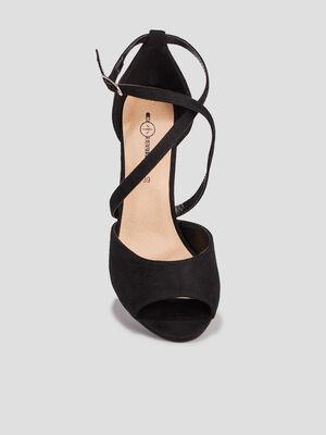Sandales a bout ouvert noir femme