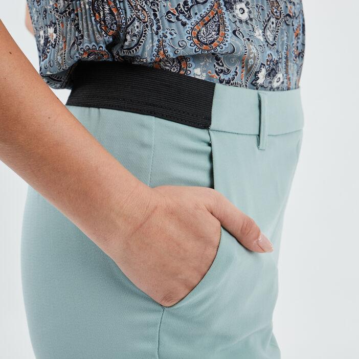 Pantalon droit à pinces femme vert clair